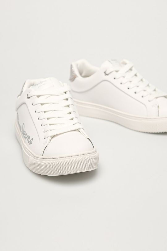 Pepe Jeans - Kožené boty Adams Brand bílá