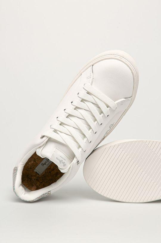 bílá Pepe Jeans - Kožené boty Adams Brand