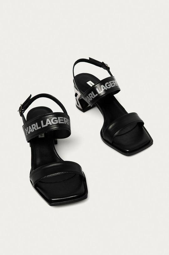 Karl Lagerfeld - Kožené sandály černá