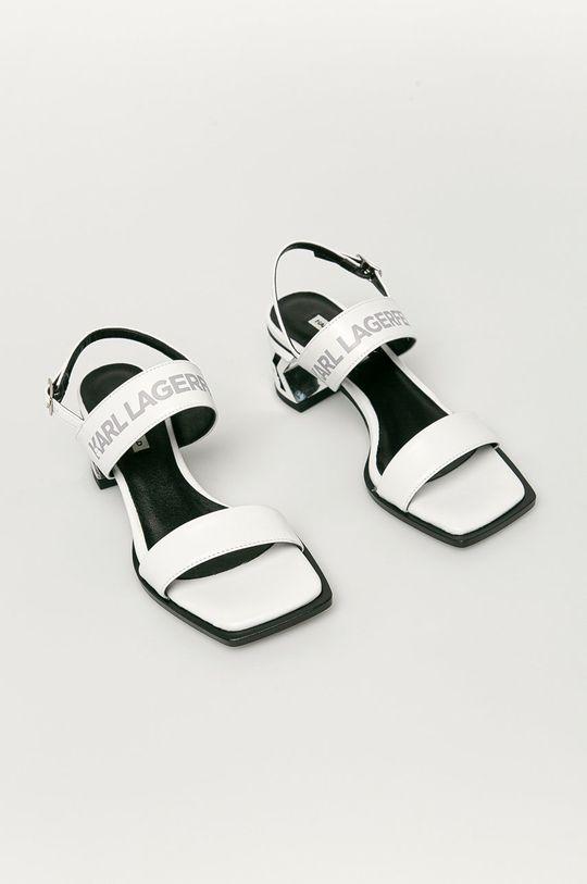 Karl Lagerfeld - Kožené sandály bílá