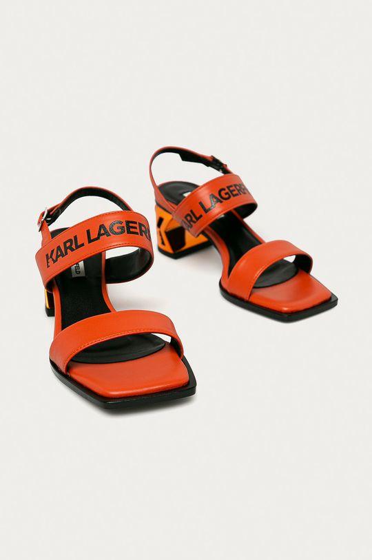 Karl Lagerfeld - Kožené sandály oranžová