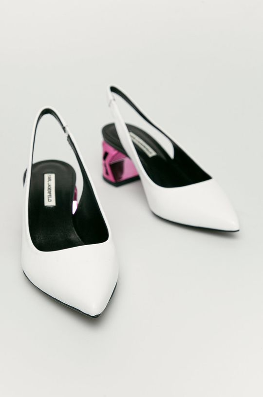 Karl Lagerfeld - Czółenka skórzane biały
