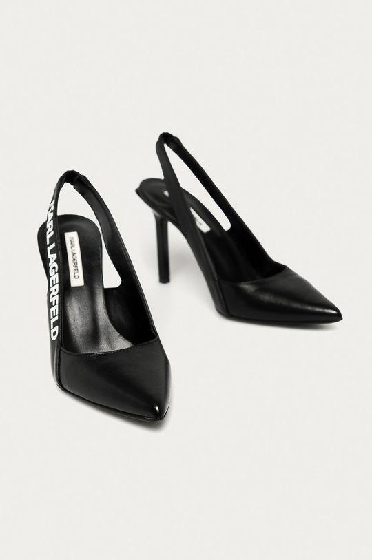 Karl Lagerfeld - Kožené lodičky černá