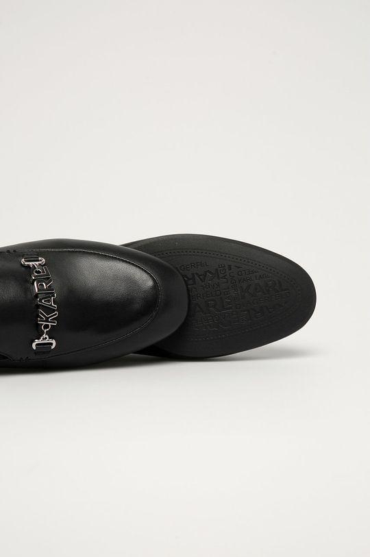 czarny Karl Lagerfeld - Mokasyny skórzane