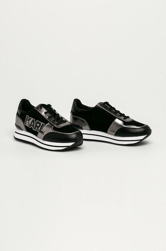Karl Lagerfeld - Kožené boty černá