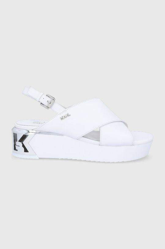 biały Karl Lagerfeld - Sandały skórzane Damski