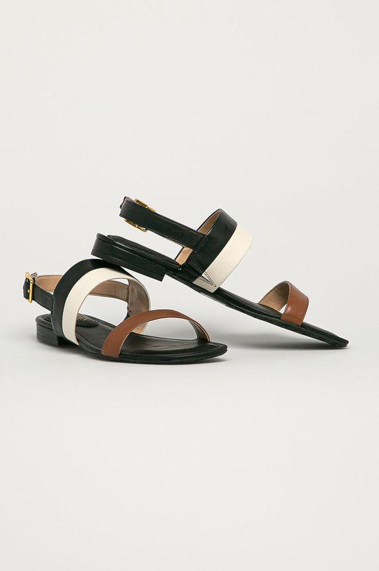 Lauren Ralph Lauren - Kožené sandále čierna