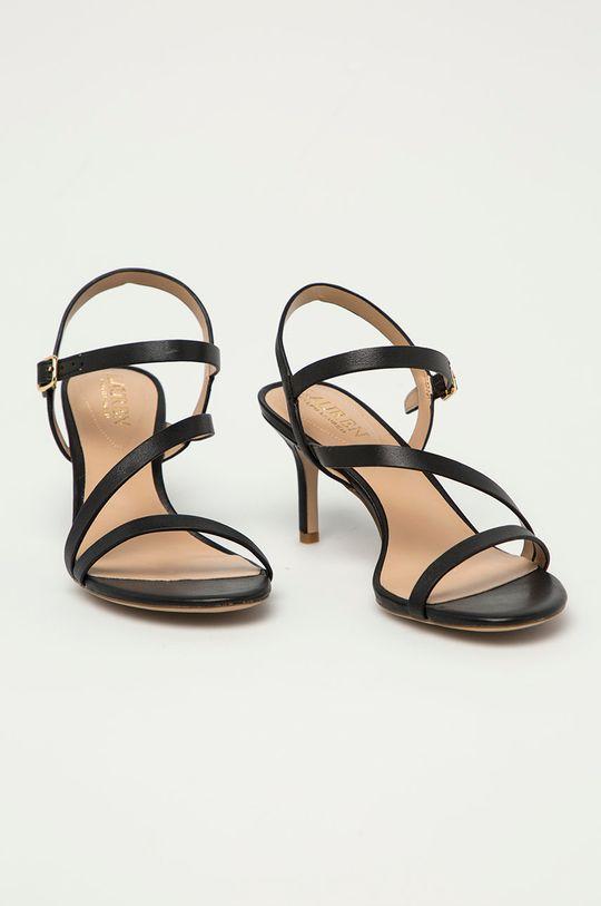 Lauren Ralph Lauren - Kožené sandály černá