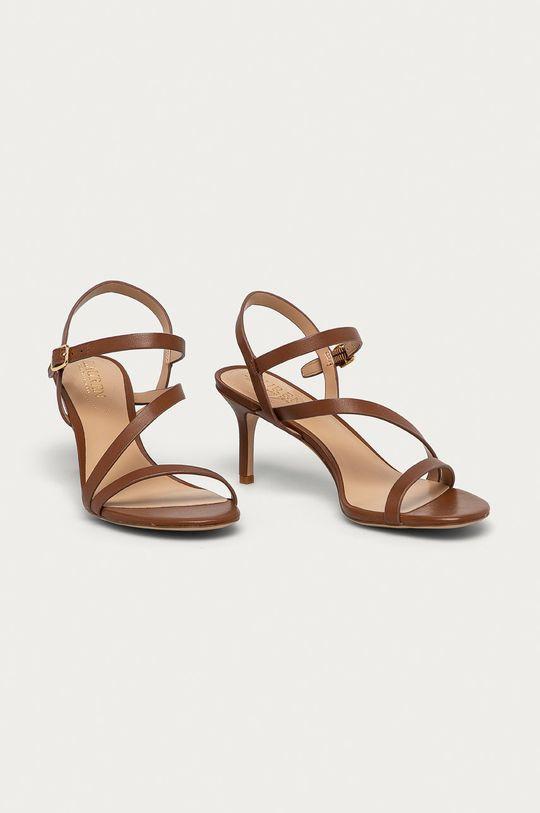 Lauren Ralph Lauren - Kožené sandály hnědá