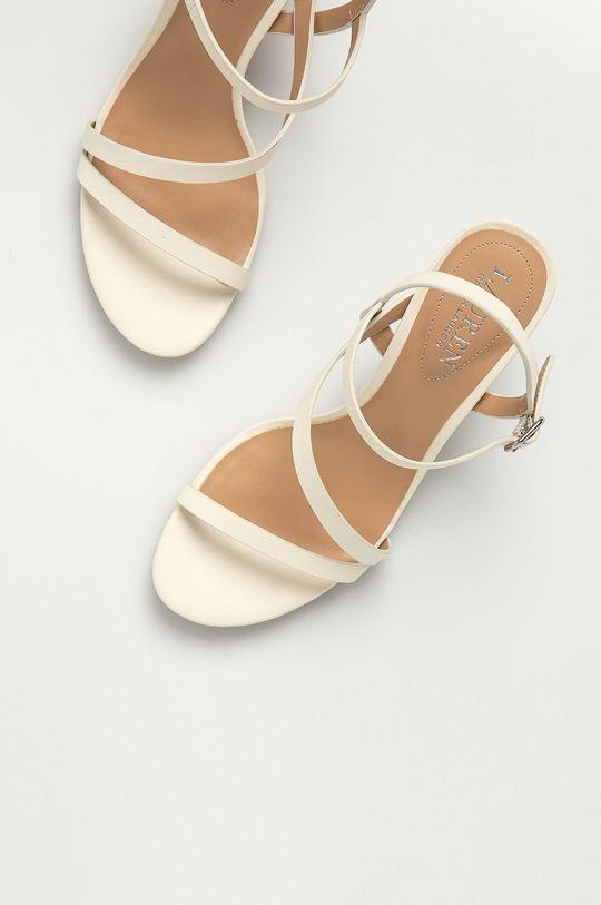 smetanová Lauren Ralph Lauren - Kožené sandály