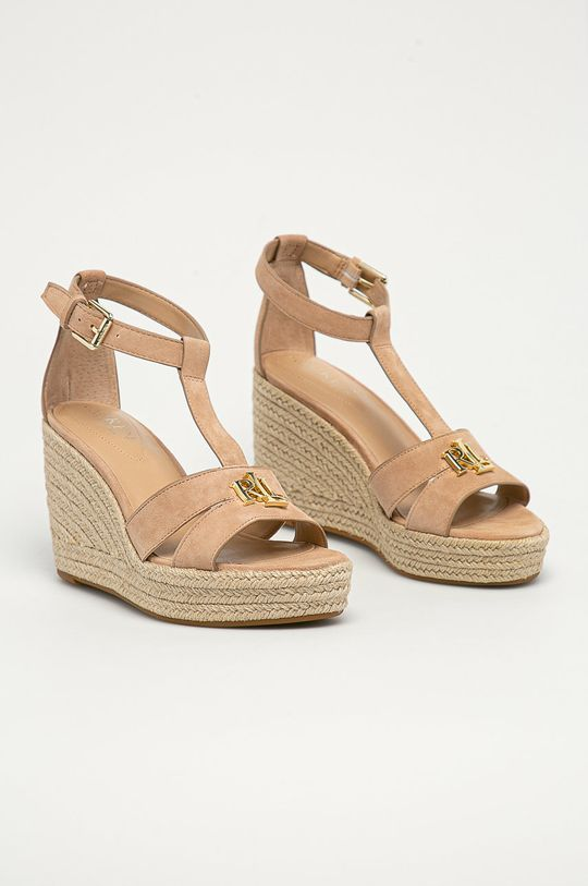 Lauren Ralph Lauren - Semišové sandály tělová
