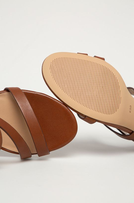 hnědá Lauren Ralph Lauren - Kožené sandály