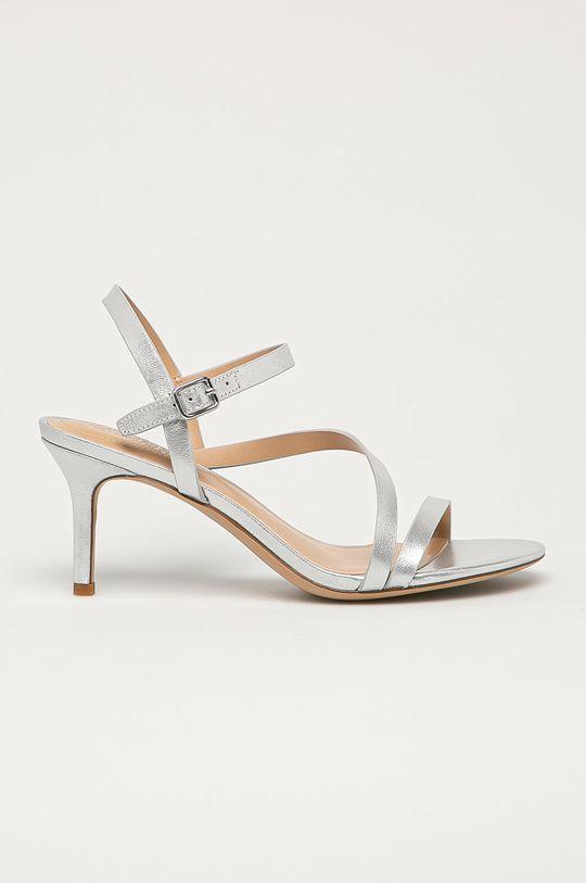 stříbrná Lauren Ralph Lauren - Kožené sandály Dámský