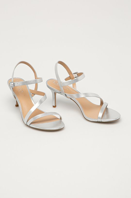 Lauren Ralph Lauren - Kožené sandály stříbrná