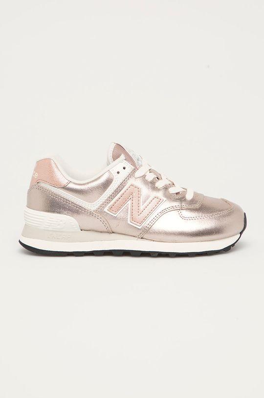 pastelowy różowy New Balance - Buty skórzane WL574PM2 Damski