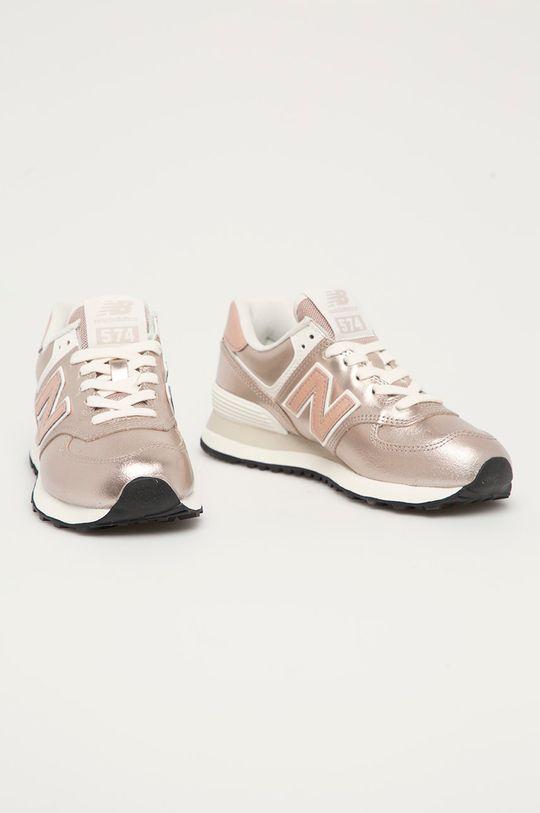 New Balance - Buty skórzane WL574PM2 pastelowy różowy