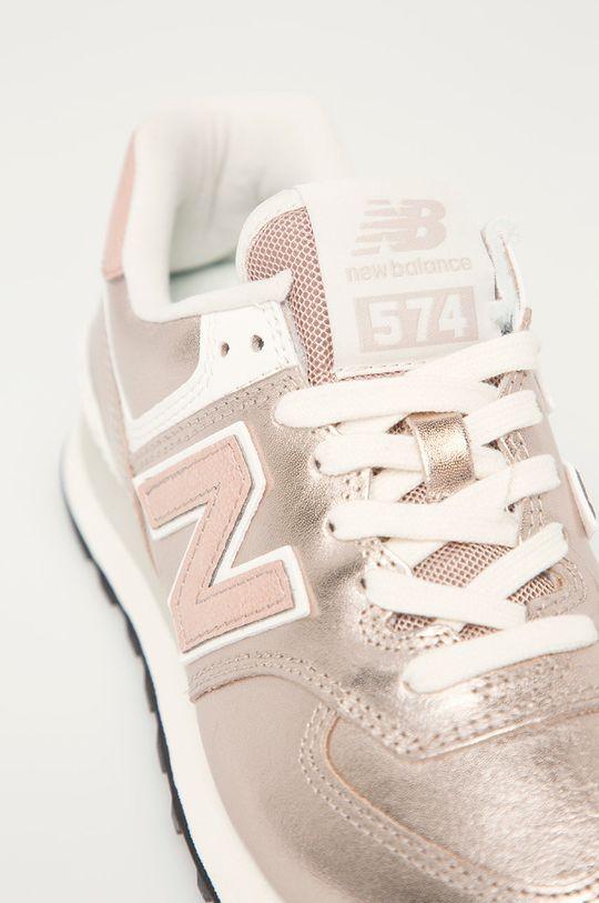 pastelowy różowy New Balance - Buty skórzane WL574PM2