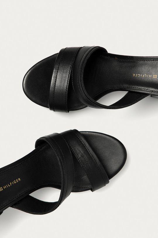 čierna Tommy Hilfiger - Kožené sandále