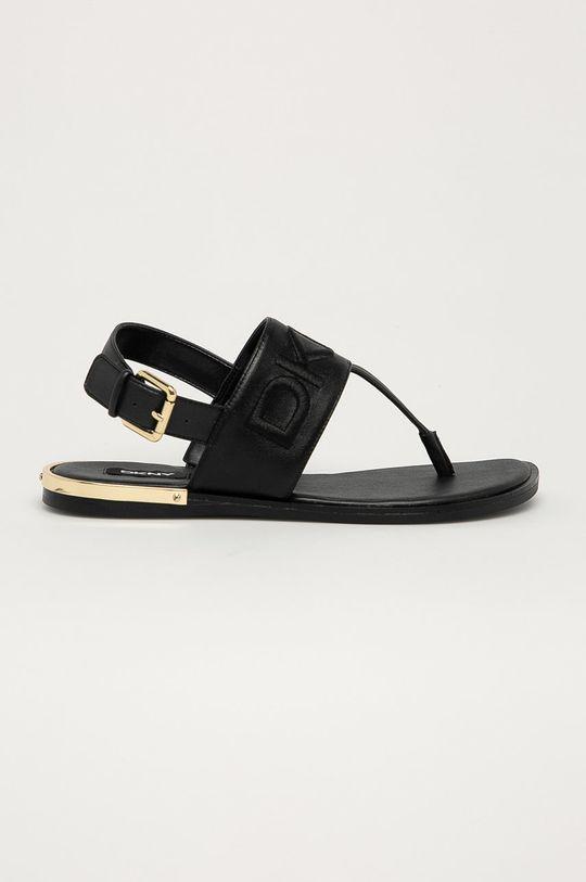 čierna Dkny - Kožené sandále Dámsky