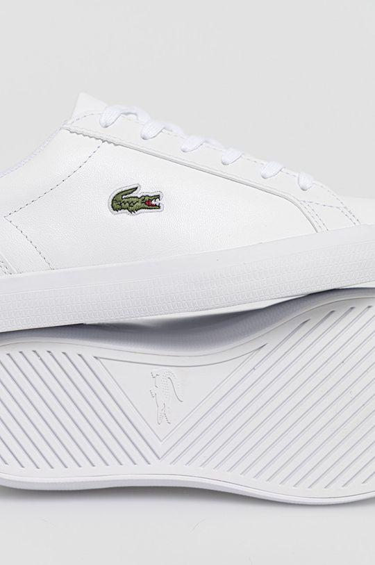 biały Lacoste - Buty skórzane Lerond