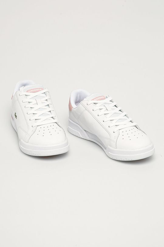 Lacoste - Kožené boty Twin Serve bílá