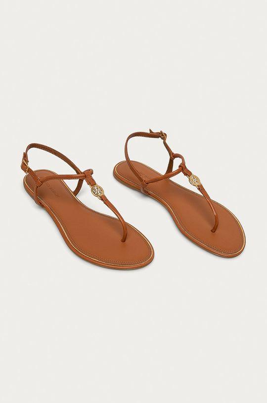 Tory Burch - Kožené sandály hnědá
