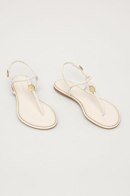 Tory Burch - Kožené sandále krémová