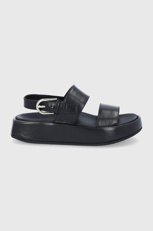 czarny Furla - Sandały skórzane Vernice Damski