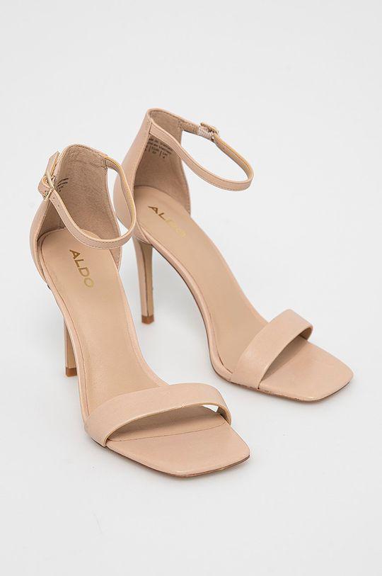 Aldo - Kožené sandále Afendaven krémová