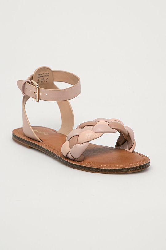 Aldo - Kožené sandály Onerran pastelově růžová