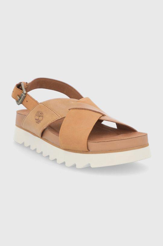 Timberland - Kožené sandály Santa Monica hnědá