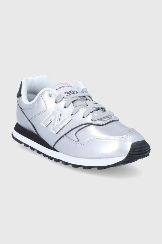 New Balance - Detské kožené topánky WL393EA1 strieborná