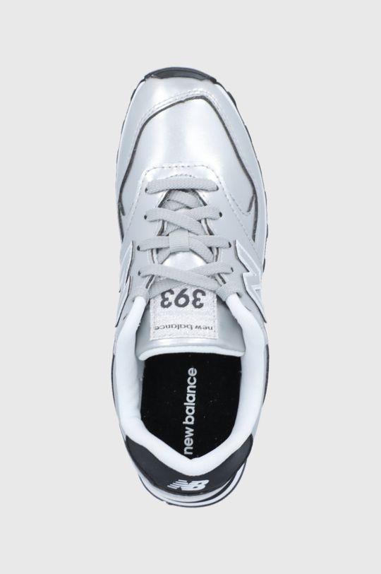 strieborná New Balance - Detské kožené topánky WL393EA1