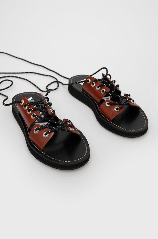 BIMBA Y LOLA - Kožené sandály hnědá