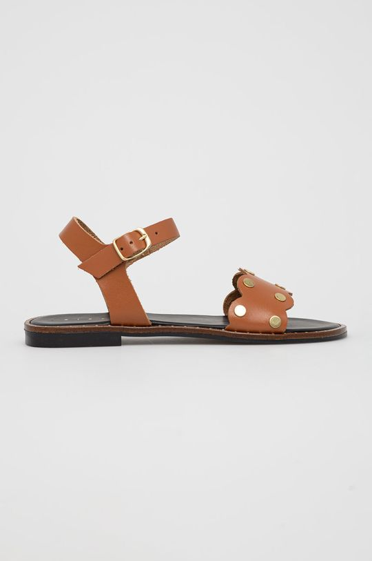hnědá Sisley - Kožené sandály Dámský