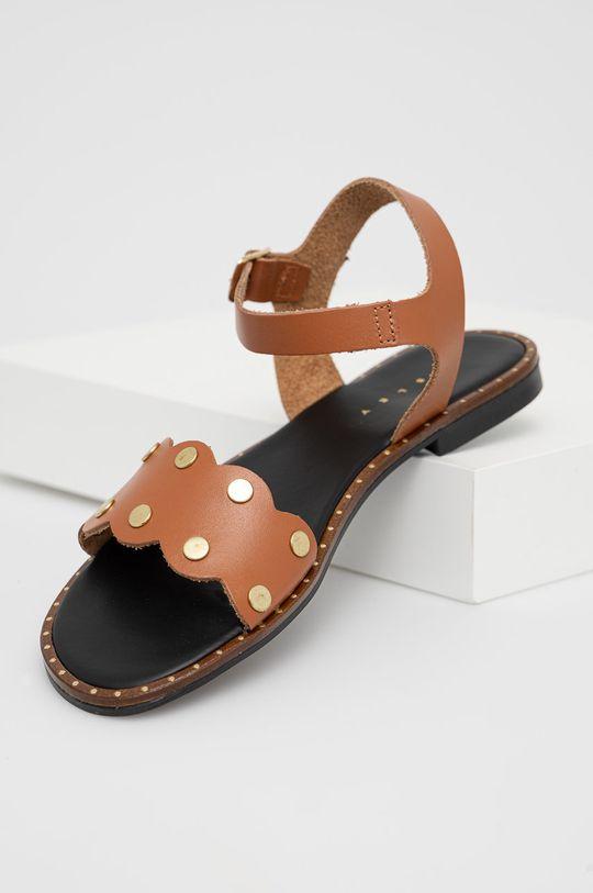 Sisley - Kožené sandály hnědá