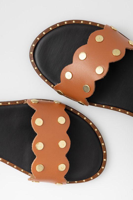 hnědá Sisley - Kožené sandály