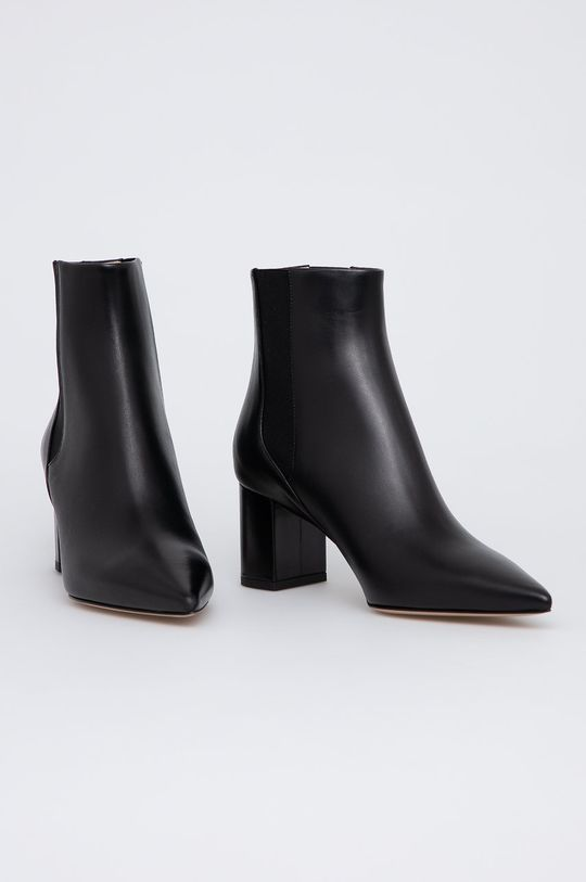Hugo - Kožené kotníkové boty černá