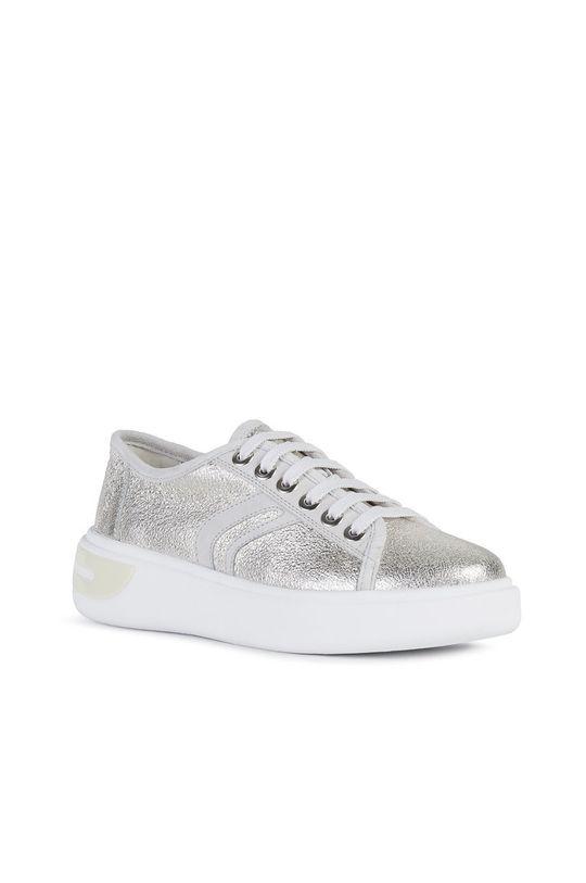 Geox - Kožené boty stříbrná