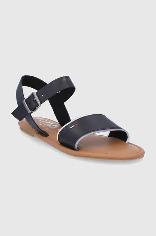 Tommy Jeans - Sandały skórzane czarny