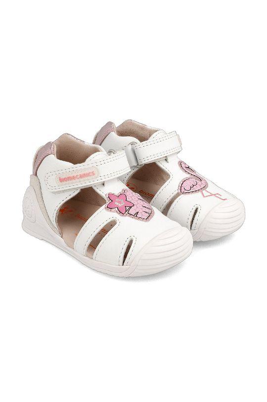 biały Biomecanics - Sandały skórzane dziecięce Dziewczęcy