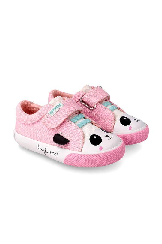 różowy Garvalin - Półbuty dziecięce Dziewczęcy