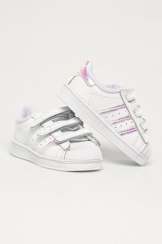 adidas Originals - Dětské kožené boty Superstar Cf bílá