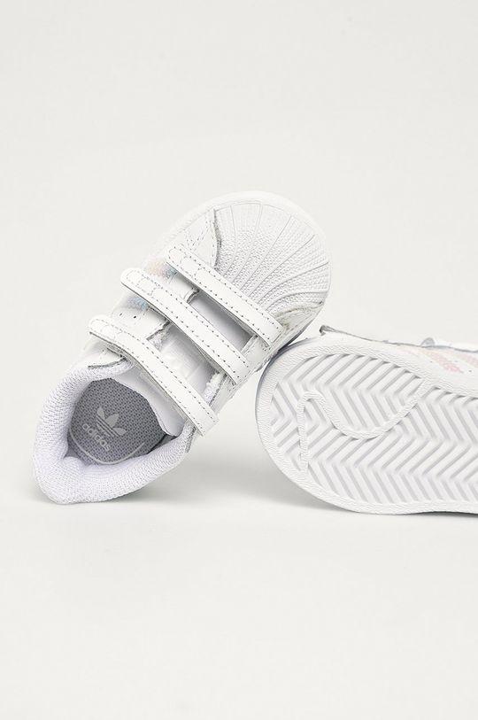 bílá adidas Originals - Dětské kožené boty Superstar Cf