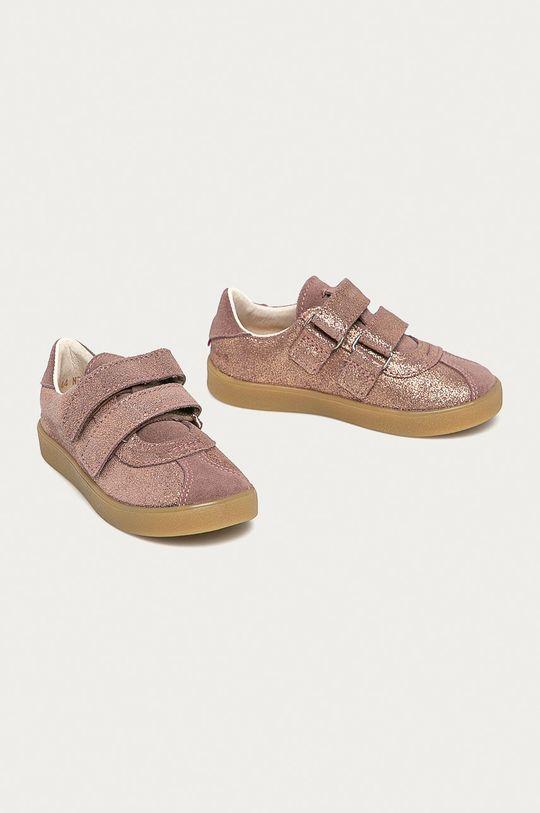 Mrugała - Półbuty zamszowe dziecięce różowy
