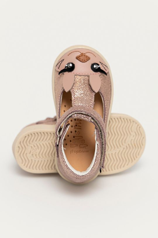 roz pastelat Mrugała - Balerini din piele pentru copii