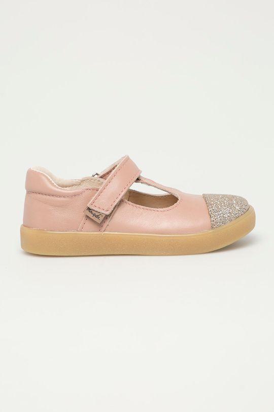 pastelově růžová Mrugała - Kožené sandály Dívčí