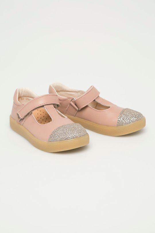 Mrugała - Kožené sandály pastelově růžová