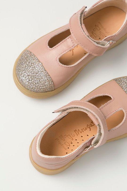 pastelově růžová Mrugała - Kožené sandály