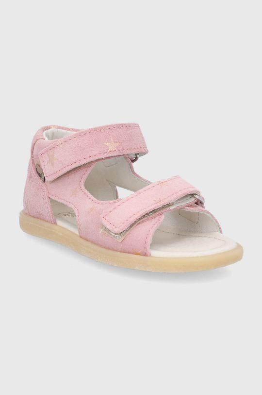 Mrugała - Sandały skórzane dziecięce pastelowy różowy